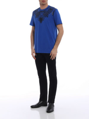 Versace Collection: t-shirts online - Embellished royal blue T-shirt
