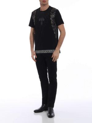 Versace Collection: t-shirts online - Golden stud embellished black Tee