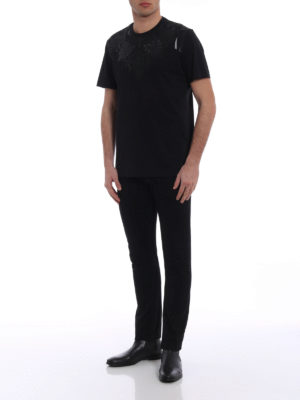 Versace Collection: t-shirts online - Tonal black embellished T-shirt