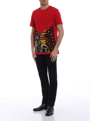 Versace Collection: t-shirts online - Two-tone flock printed red T-shirt