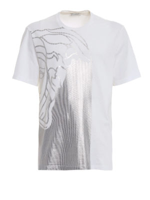 5be51069e0a514 VERSACE COLLECTION  t-shirt - T-shirt in cotone stampa Medusa argento