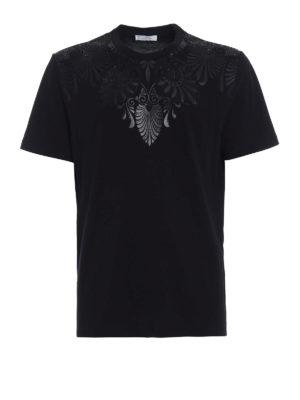 Versace Collection: t-shirts - Tonal black embellished T-shirt