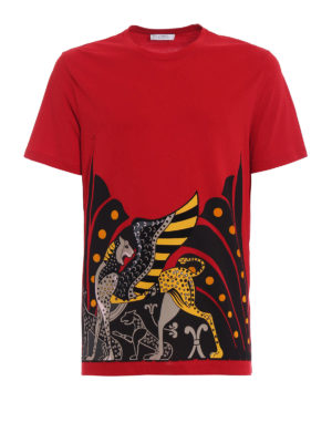 Versace Collection: t-shirts - Two-tone flock printed red T-shirt