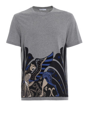 Versace Collection: t-shirts - Two-tone flock printed T-shirt