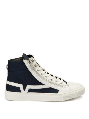 Versace Collection: trainers - Fabric and leather zipped sneakers