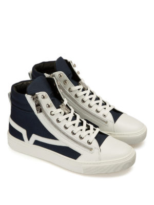 Versace Collection: trainers online - Fabric and leather zipped sneakers