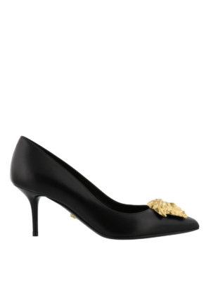 VERSACE: scarpe décolleté - Décolleté in pelle con Testa di Medusa