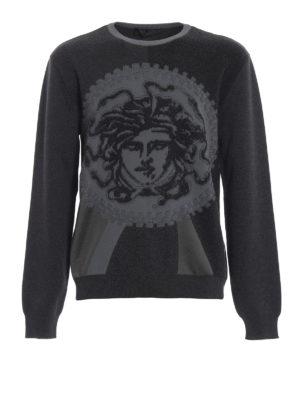 VERSACE: maglia collo rotondo - Girocollo grigio in spugna stretch Medusa