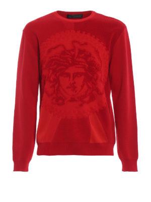 VERSACE: maglia collo rotondo - Girocollo rossa in spugna stretch Medusa
