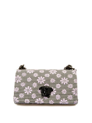 Versace: cross body bags - Floral houndstooth patterned bag