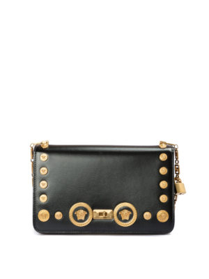 Versace: cross body bags - Icon bag with Medusa studs