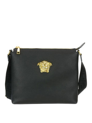 Versace: cross body bags - Medusa Head leather messenger