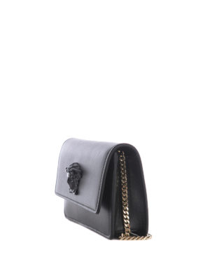 Versace: cross body bags online - Gold metal chain clutch crossbody
