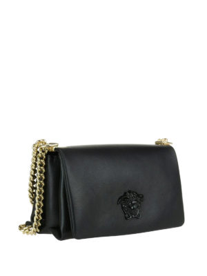 Versace: cross body bags online - Palazzo black leather crossbody