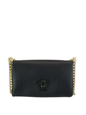 Versace: cross body bags - Palazzo black leather crossbody
