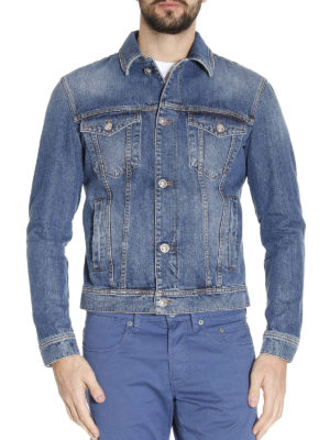 Versace: denim jacket online - Back Medusa print denim jacket