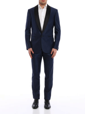 Versace: dinner suits online - Wool and silk blend jacquard tuxedo