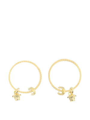 Versace: Earrings - Medusa Head charm hoop earrings
