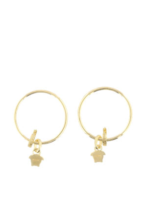 Versace: Earrings online - Medusa Head charm hoop earrings