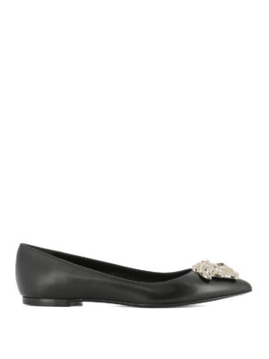 Versace: flat shoes - Medusa Head leather flat shoes
