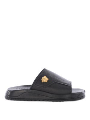 Versace: flip flops - Hammered leather slides
