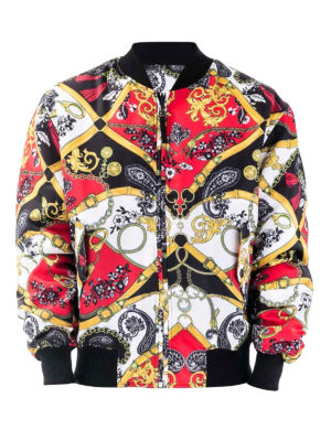 Versace Jeans Couture: bombers - Chain print bomber jacket