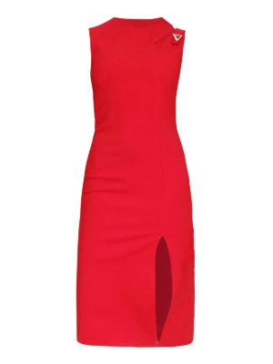 Versace: knee length dresses - Cut out detailed cady dress