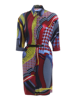 Versace: knee length dresses - Greek fret print silk belted dress