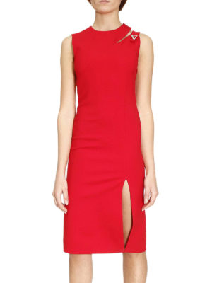 Versace: knee length dresses online - Cut out detailed cady dress