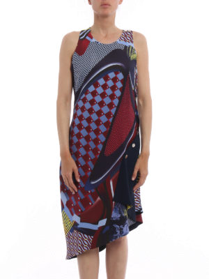 Versace: knee length dresses online - Greek fret print asymmetric dress