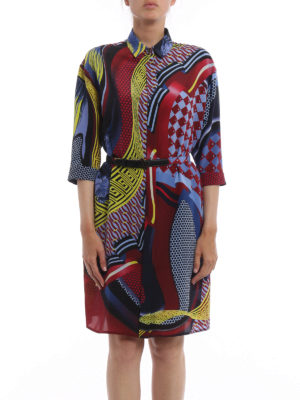 Versace: knee length dresses online - Greek fret print silk belted dress