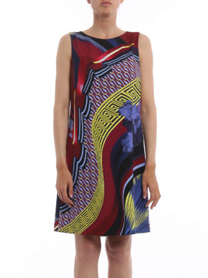 Versace: knee length dresses online - Greek fret print sleeveless dress