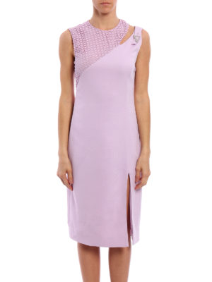 Versace: knee length dresses online - Lace detail cady sheath dress