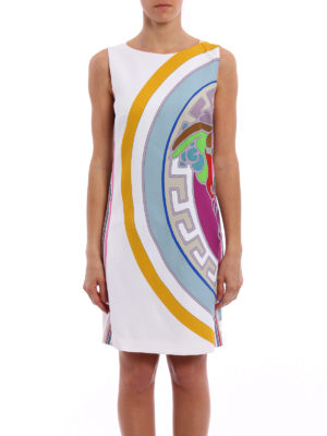 Versace: knee length dresses online - Pop Medusa pattern cady dress