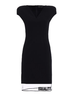 Versace: knee length dresses - Tulle bottom wool dress