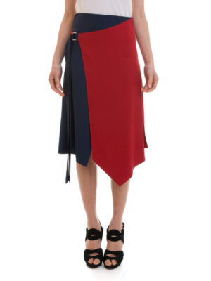 Versace: Knee length skirts & Midi online - Asymmetric bicolour wrap skirt