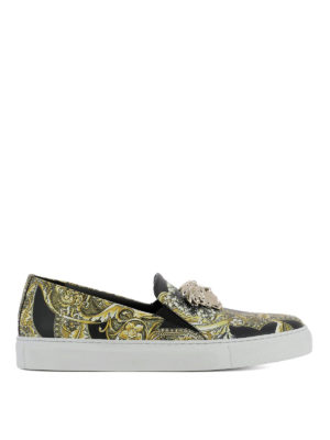 Versace: Loafers & Slippers - Baroque printed leather slip-ons