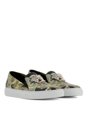 Versace: Loafers & Slippers online - Baroque printed leather slip-ons