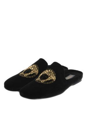 Versace: Loafers & Slippers online - Medusa Head velvet slippers