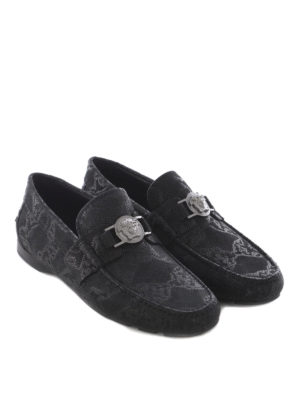 Versace: Loafers & Slippers online - Python print leather loafers