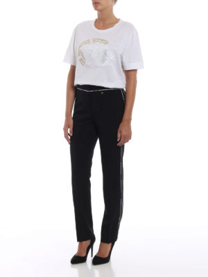 VERSACE: pantaloni casual online - Pantaloni in lana con bande Chiave Greca