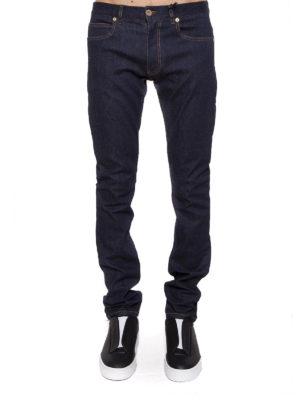 VERSACE: jeans skinny online - Jeans cinque tasche in bull denim