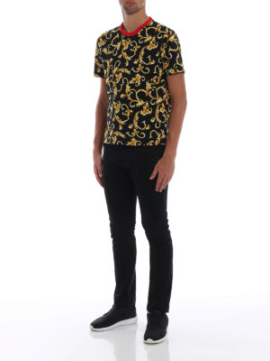 VERSACE: t-shirt online - T-shirt con stampa Acid Baroque