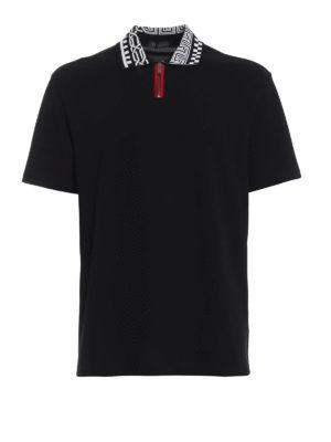 VERSACE: polo - Polo nera con zip e Greek Key a intarsia