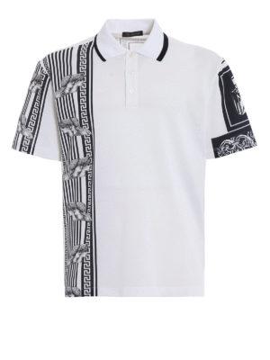 Versace: polo shirts - Greek patchwork print polo shirt