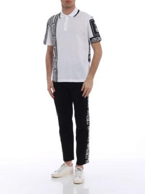 Versace: polo shirts online - Greek patchwork print polo shirt