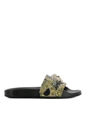 Versace: sandals - Baroque pattern strap slides