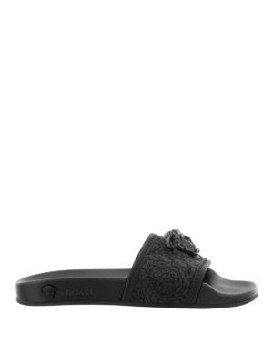 Versace: sandals - Medusa Head rubber slide sandals