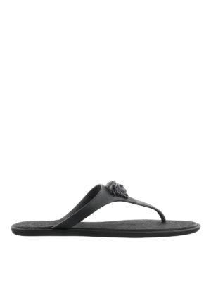 Versace: sandals - Medusa Palazzo black thong sandals