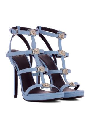 Versace: sandals online - Cage design leather sandals